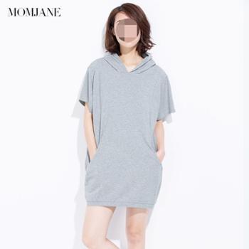 Mom Jane哺乳衣连衣裙外出春秋装哺乳裙中长款宽松蝙蝠衫外出时尚喂奶衣