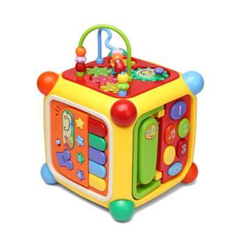 谷雨六面盒智立方数字智慧屋绕珠配对积木音乐游戏桌玩具台1-3岁