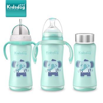 乖乖狗宝宝保温奶瓶婴儿不锈钢两用宽口新生儿童防摔带吸管