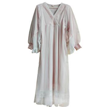逸尔乐 复古宫廷长袖睡裙女 绵绸睡衣长款韩版蕾丝甜美公主家居服