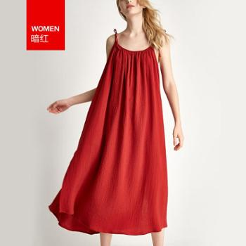Hodohome/红豆居家 性感吊带睡裙女大码长款梭织裙春夏短袖红色本命年睡衣夏季薄