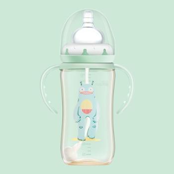 SUPERmama/全能妈妈 吸管奶瓶ppsu带手柄耐摔宽口径防胀气宝宝奶瓶断奶神器