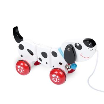 Ebaby/益贝 宝宝学步拉车小狗玩具木质拖拉玩具手拉线绳学爬