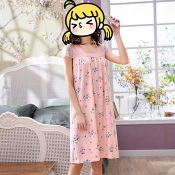 睡裙女夏季纯棉短袖夏天睡衣宽松加肥加大码全棉质中年妈妈家居服