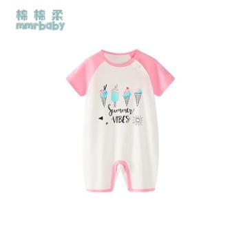 棉棉柔 儿童连体睡衣夏季短袖纯棉薄款宝宝连体衣婴儿哈衣男童女童