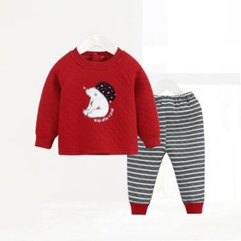 CICIIBEAR/齐齐熊 男女宝宝贴布夹丝内衣套装婴儿冬季睡衣保暖两件套