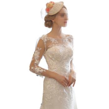 BORUIDIA/波瑞蒂亚鱼尾长袖婚纱新款新娘礼服拖尾森系奢华超仙