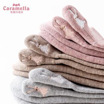 CARAMELLA 袜子女中筒刺绣可爱卡通毛圈加厚保暖潮韩版学院风