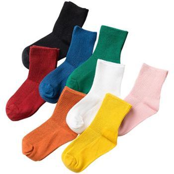 CARAMELLA 春秋袜子女简约条纹纯色中筒袜日系糖果色袜子潮袜棉袜