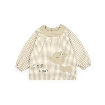 米豆酷尔 新款男女童吃饭罩衣防水宝宝反穿衣四季透气长袖婴儿