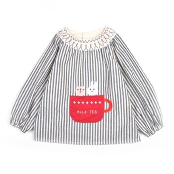 米豆酷尔 秋冬新款婴儿吃饭罩衣宝宝纯棉防水反穿衣儿童长袖吃饭衣