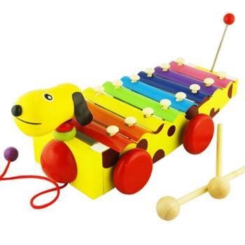 1-3岁婴儿拖拉小狗八音木制手敲琴宝宝益智奥尔夫乐器早教玩具
