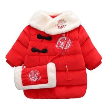 时代娃 女宝宝唐装新年礼服儿童中国风民族风复古汉服拜年服
