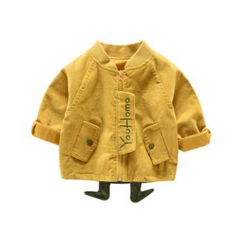 皮皮鸭(服饰) 宝宝秋装外套男童0一1-3岁卡通风衣灯芯绒儿童秋季婴儿上衣服春秋
