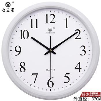 七王星日历电子静音客厅大钟表挂钟圆形石英创意时钟简约家用 M7
