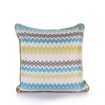 吉好仕 时尚田园风彩色印花条纹沙发靠垫 汽车靠包 抱枕