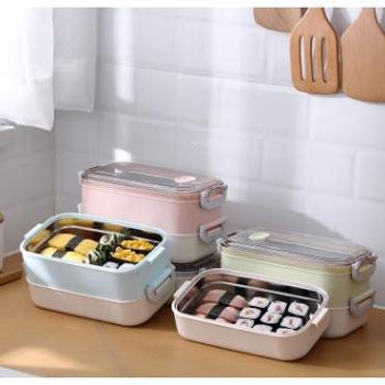 304不锈钢保温饭盒便当盒保鲜盒学生成人便携车载办公双层午餐盒