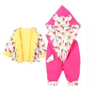 依夏源新品0-3岁婴儿冬装男女儿童夹棉连体衣带帽套装婴幼外出服