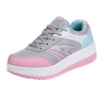 女鞋网面透气跑步鞋摇摇鞋厚底松糕鞋增高女瘦身运动休闲鞋子