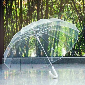 包邮 Qiutong16骨男女复古透明雨伞长柄伞自动 创意透明伞商务伞