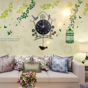 夜光现代装饰欧式田园静音摇摆挂钟客厅时尚卧室创意个性小鸟钟表