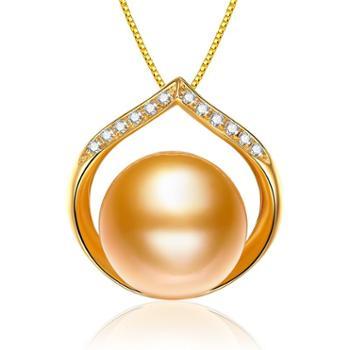 仙蒂瑞拉 SANDYRILLA 永恒之星 9-10mm南洋金珍珠18K金钻石吊坠(附证书)2059