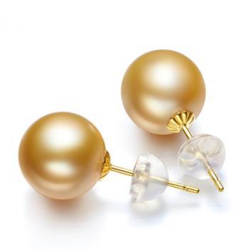 仙蒂瑞拉 18K南洋金珍珠耳钉优雅百搭9-10mm 女款正圆强光珍珠耳饰送k金耳堵