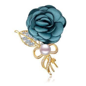 仙蒂瑞拉 玫瑰 9.5mm时尚淡水珍珠胸针扮美衣服配饰 附证书