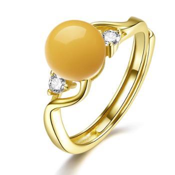 仙蒂瑞拉 简约 S925银镶琥珀蜜蜡开口戒指 时尚气质附证书