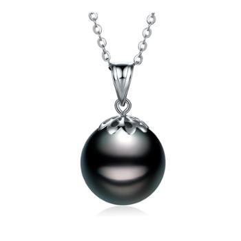 仙蒂瑞拉 大溪地黑珍珠正圆强光18K吊坠时尚珍珠颈坠9-10mm 附鉴定证书