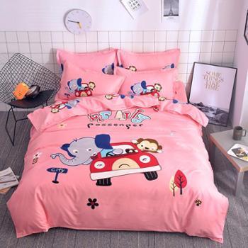 恒知缦家纺韩版磨毛四件套超柔加厚活性大版花床上用品套件