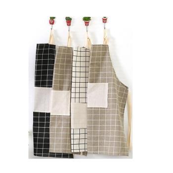 北欧风棉麻布艺素色格子围裙格子围裙(一个)