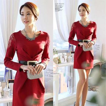 2016韩版春季修身显瘦新款正品季蕾丝长袖圆领时尚打底连衣中裙女