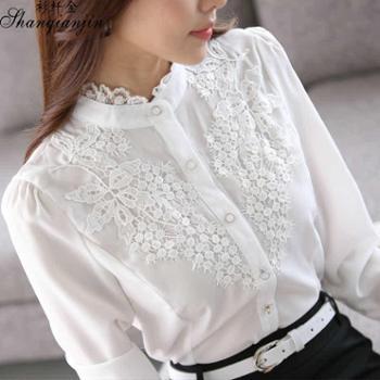 韩版时尚新品蕾丝立领长袖女修身显瘦雪纺衫女衬衣有加绒不加绒