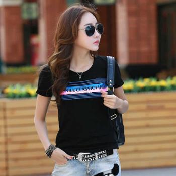简约时尚不规则条纹字母短袖T恤女百搭淑女学生体恤NFM-1631