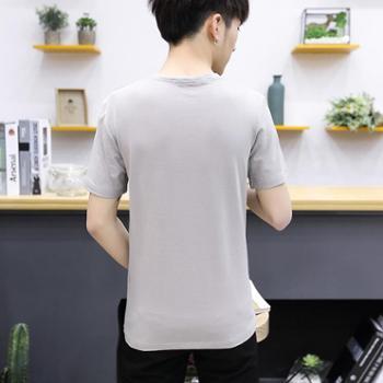 新款短袖t恤 男装韩版v领夏季上衣修身男士打底衫半袖潮男SLS-04853-28