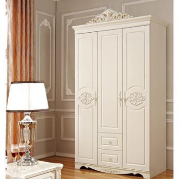 法式奢华大衣柜欧式三门带抽衣柜欧式衣橱法式衣柜