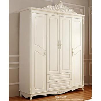 奢华法式大衣柜 欧式四门带抽 衣柜 欧式衣橱 法式衣柜