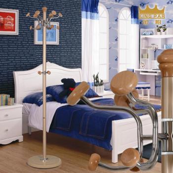 金帕铁艺旋转实木衣帽架落地卧室金属挂衣架多功能衣服架