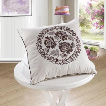 新款 置家 手工亚麻刺绣中式 办公室沙发靠垫 棉麻抱枕含芯靠枕