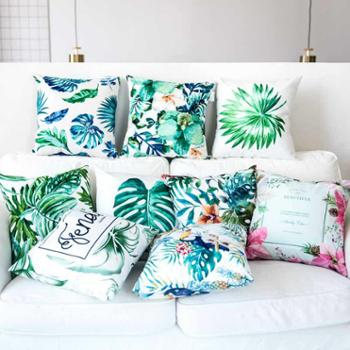 北欧绿植抱枕ins风双面绒小清新文艺芭蕉叶子沙发靠垫套汽车腰枕