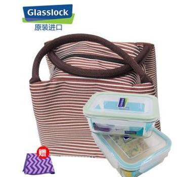 Glasslock韩国进口保鲜盒2件套715ml+分隔1000ml-1000ml-天蓝色