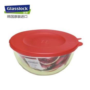 Glasslock韩国进口钢化玻璃沙拉碗玻璃保鲜盒-1000ml-红色