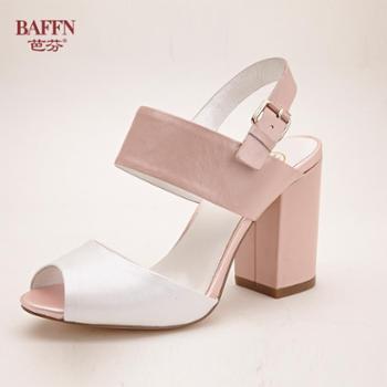 芭芬新款头层牛皮鱼嘴露趾拼接粗跟防滑欧美时尚百搭女鞋