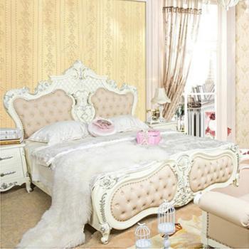 环保实木床创意家具欧式床卧室真皮床奢华法式床加宽床定做