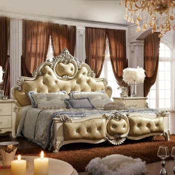 逸邦家具创意家居欧式床 奢华全实木法式床双人床1.5 1.8米木质床
