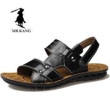米斯康男鞋男凉鞋男士夏季新款拖鞋真皮头层皮沙滩鞋两用凉拖鞋1385
