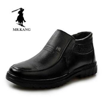 米斯康 男鞋 牛皮男士皮棉鞋休闲爸爸棉鞋 防滑羊毛高帮鞋男棉鞋816