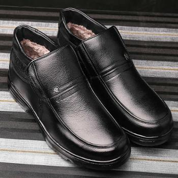 冬季男士棉鞋男真皮绒毛棉皮鞋中老年保暖休闲高帮鞋爸爸鞋子防滑