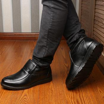 米斯康棉鞋男士秋冬季男鞋真皮加绒保暖棉皮鞋中老年爸爸鞋高帮鞋876